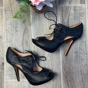 Pour La Victoire Snakeskin Lace up High Heels